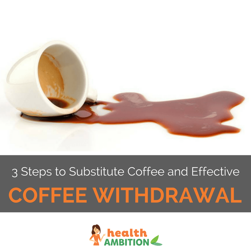 "Coffee spilled from a cup with the title ""3 Steps to Substitute Coffee and Effective Caffeine Withdrawal."""