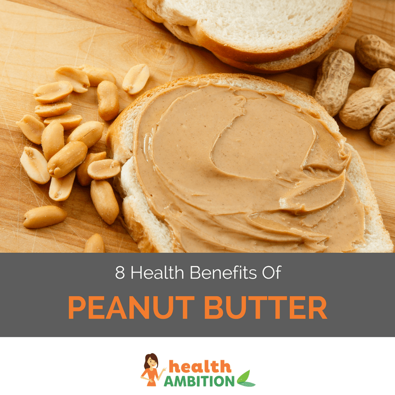 "Peanut butter spread on a slice of bread with a few nuts next to it. The caption says ""8 Health Benefits Of Peanut Butter."""