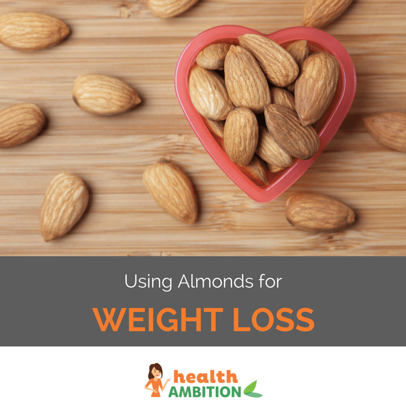 "Almonds in a heart-shaped form with a few pieces scattered around it with the title ""Using almonds for Weight loss."""
