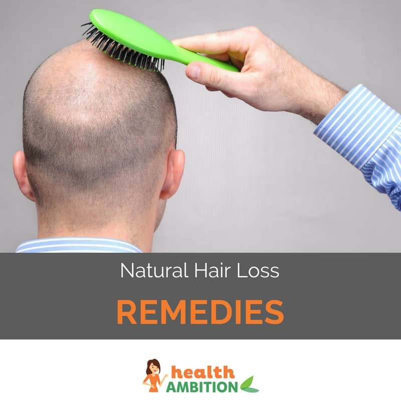 "A heavily balding man combing his head with the title ""Natural Hair Loss Remedies."""