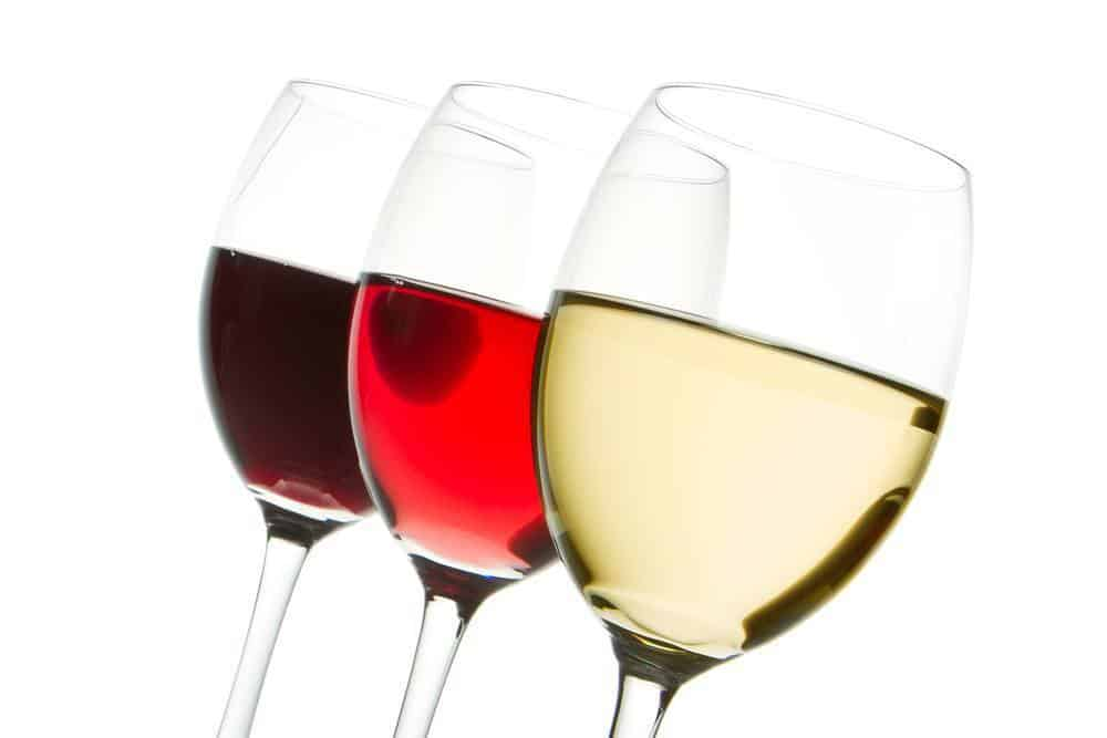 Various colored wines from darkest to brightest.
