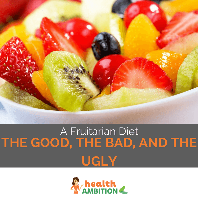 "A bowl of fruits (kiwi, strawberry, peach, etc) with the caption ""A Fruitarian Diet – The Good, The Bad, The Ugly."""