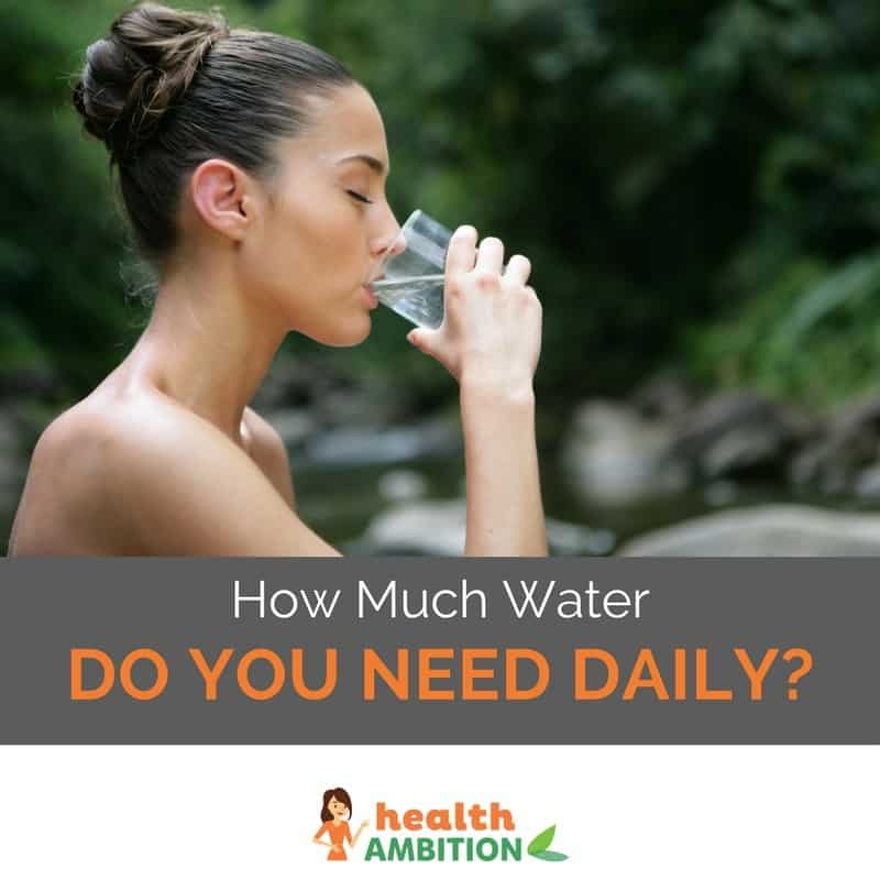"A woman drinking a glass of water in the forest with the title ""How Much Water Do You Need Daily?"""