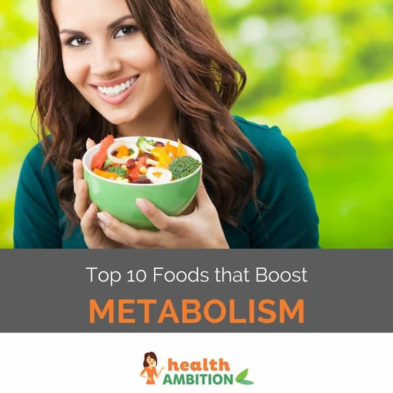 "A smiling woman holding a bowl of fresh fruits and vegetables with the title ""Top 10 Foods that Boost Metabolism."""