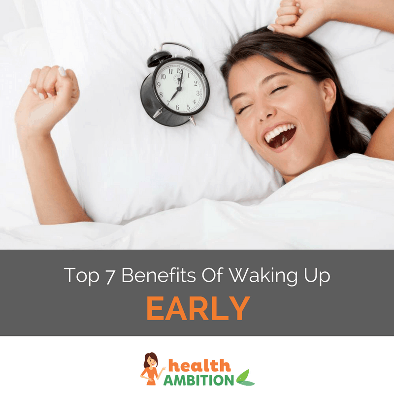 "A woman joyfully waking up in her bed next to an old-fashioned alarm clock with the caption ""Top 7 Benefits of Waking Up Early"""