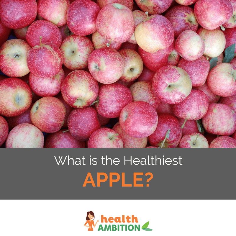 "Dozens of red apples with the caption ""What is The Healthiest Apple?"""