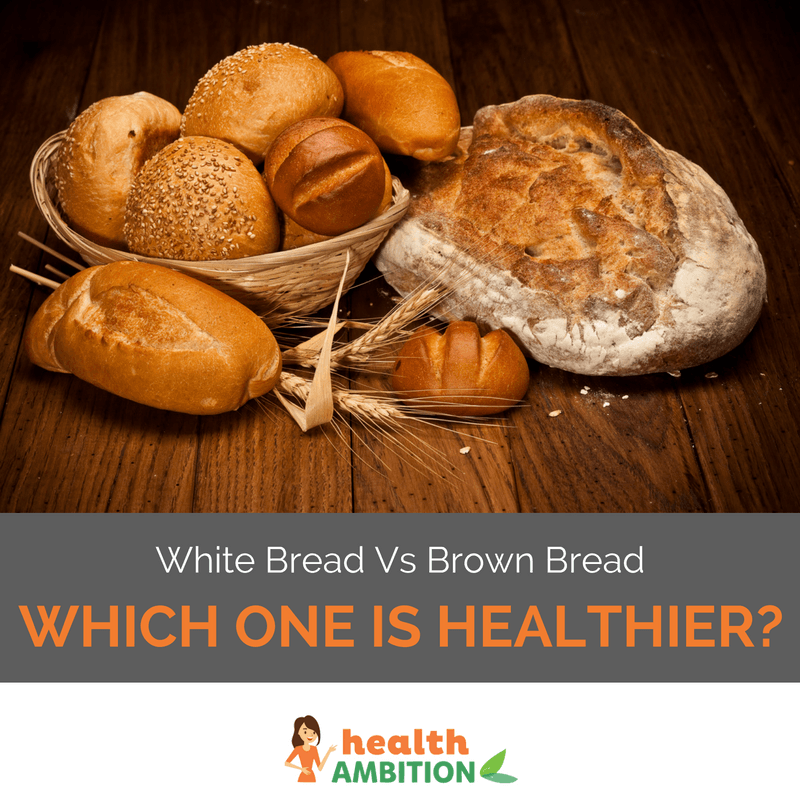 "Breads and buns in a bowl and on a wooden surface with the caption ""White Bread Vs Brown Bread - Which One is Healthier."""