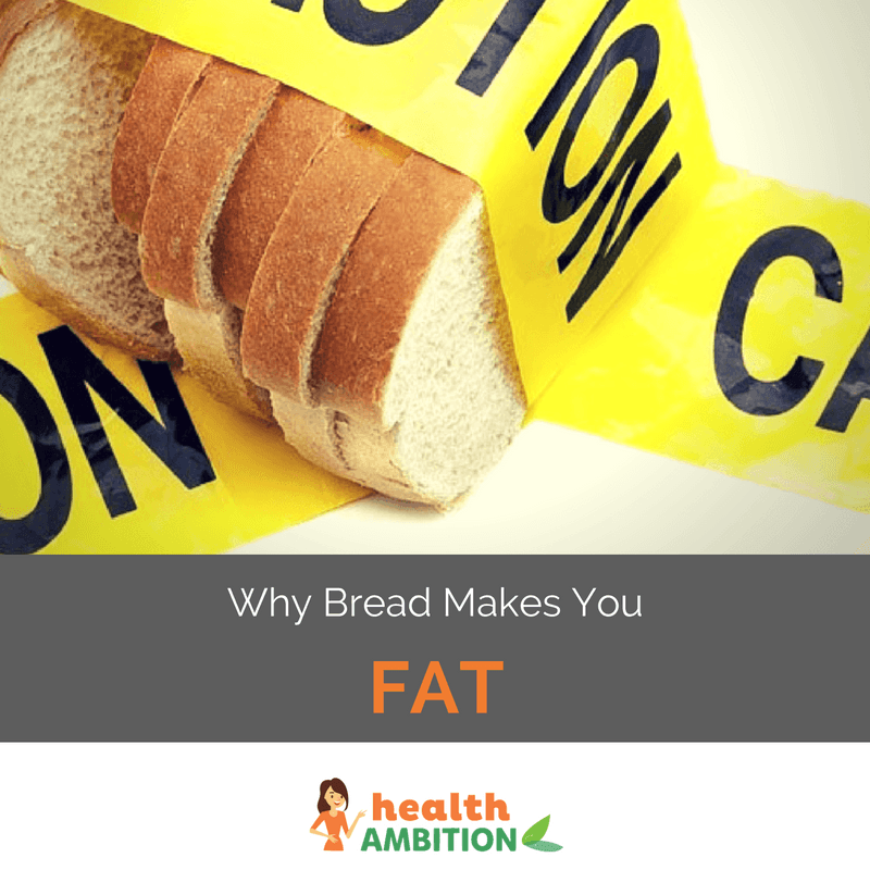"Bread covered in a 'Caution tape'' with the caption ""Why Bread Makes You Fat."""