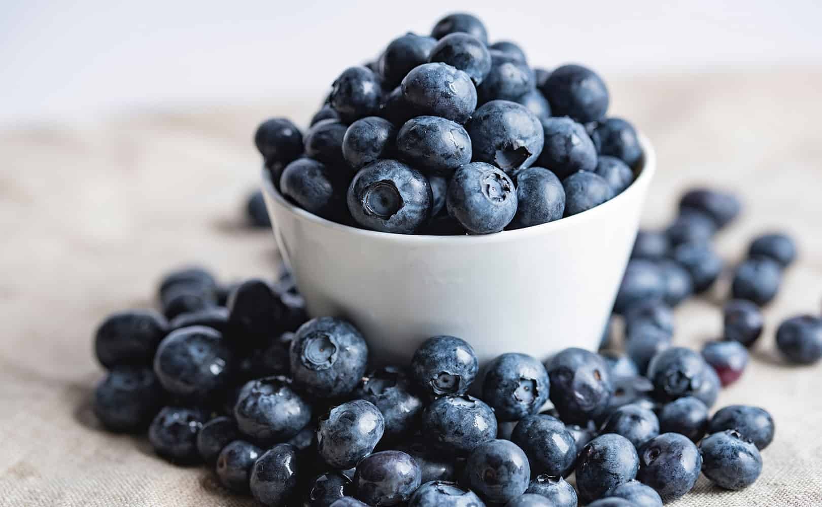 Blueberries in a small white bowl, surrounded by blueberries.