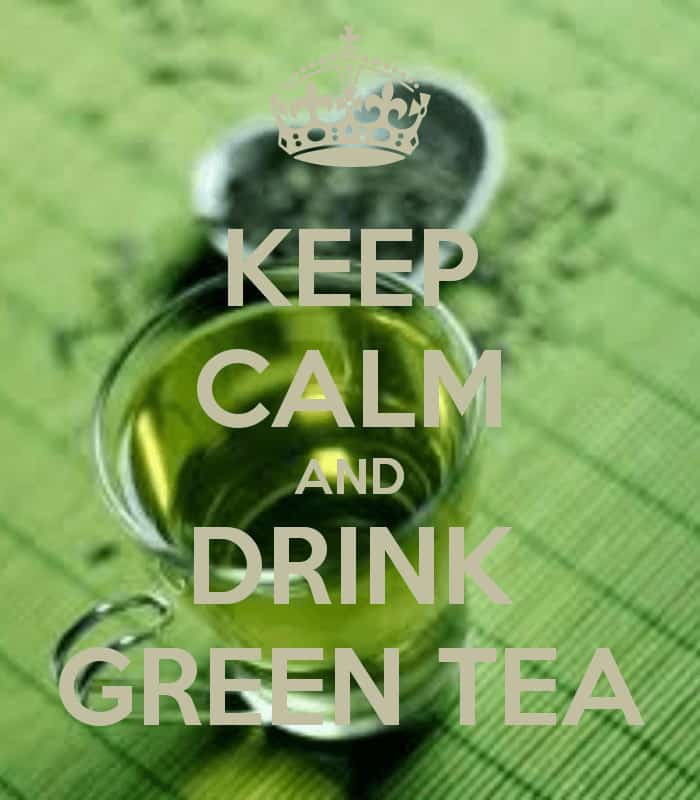 "A glass of green tea with the caption ""Keep Calm and Drink Green Tea."""