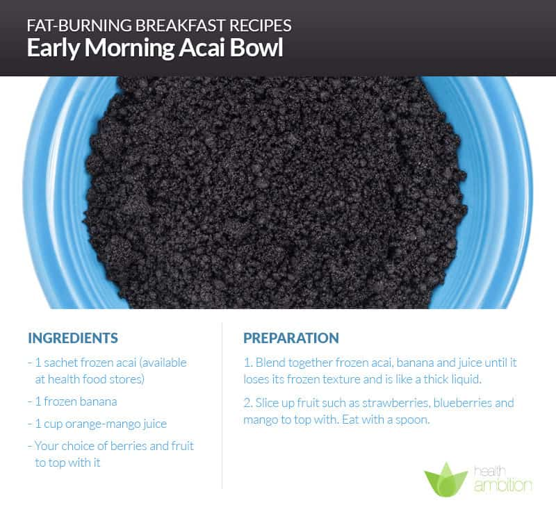 A bowl of acai with a recipe for Early Morning Acai Bowl.