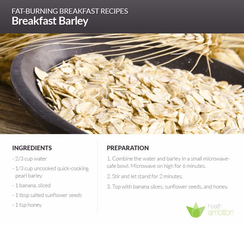 A bowl of barley with a recipe for Breakfast Barley.