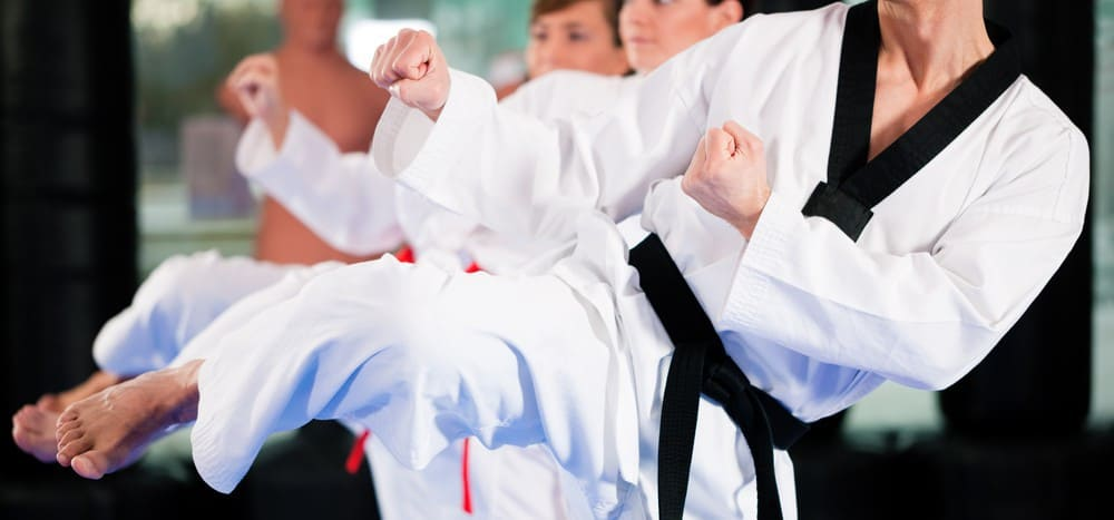 Martial arts students performing a kick in disciplined unison.