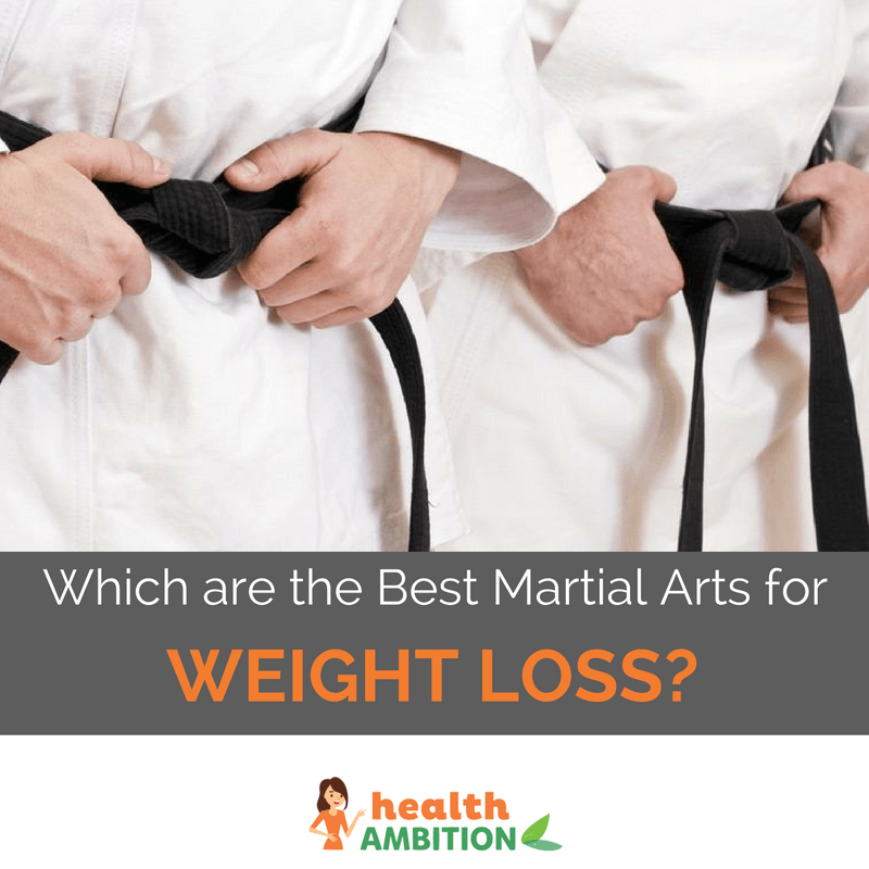 "People holding their black-belts during martial arts training with the caption ""Which are the Best Martial Arts for Weight Loss?"""