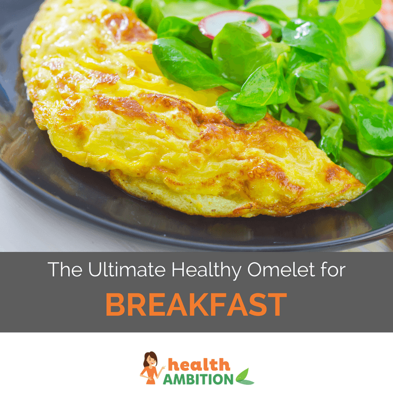 "A plate of omelet with decorative green spices and the title ""The Ultimate Healthy Omelet for Breakfast."""