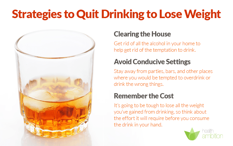 "An image of a glass of alcohol, with suggestions to quit drinking. The title caption is ""Strategies to Quit Drinking to Lose Weight"""