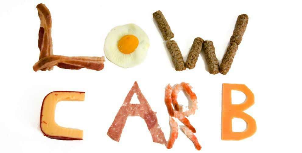 "The word ""Low Carb"" made up of various foods like fried eggs and bacon strips."