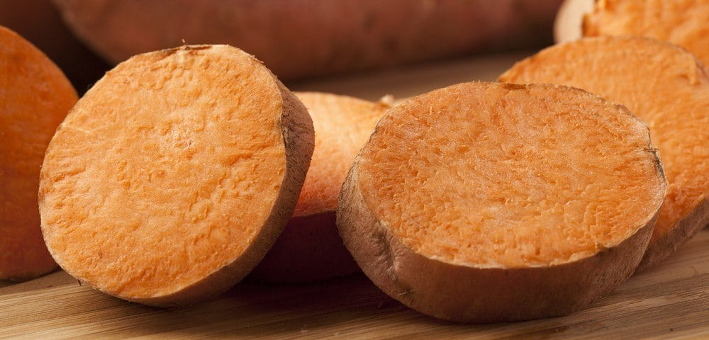 Slices of sweet potatoes.