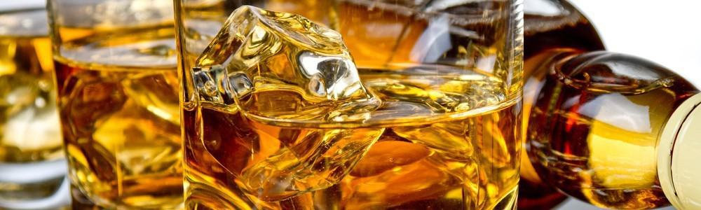 Close-up of a glass of whiskey.