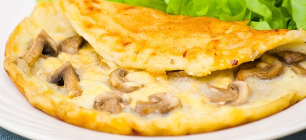 An omelette with mushrooms.