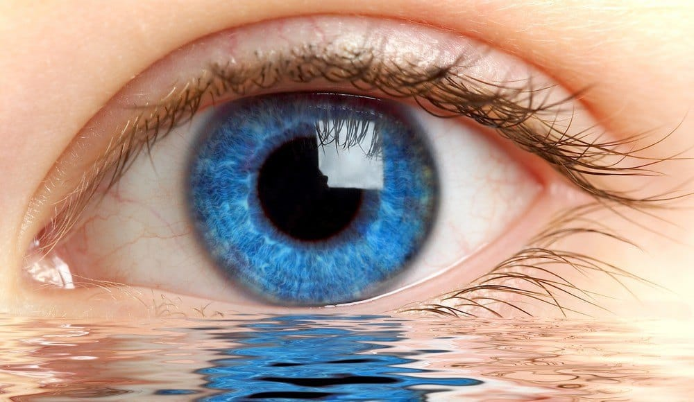 A human eye with a body of water in front of it.