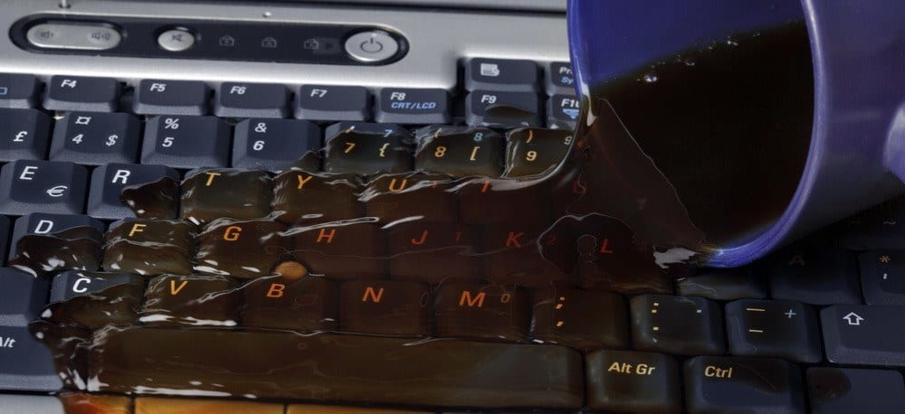 Coffee spilled on a keyboard.
