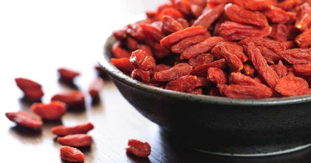A bowl of goji berries.