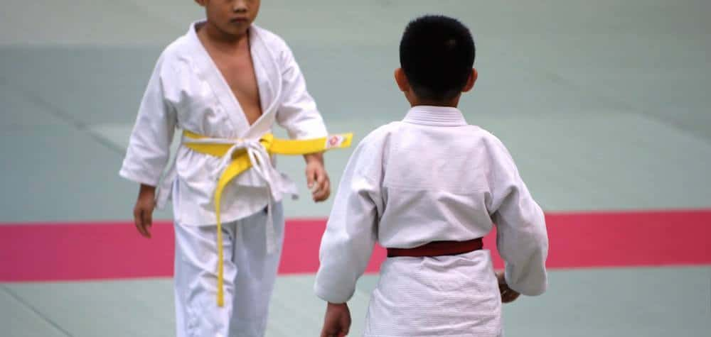 Two young boys about to spar during a martial arts event or training session.