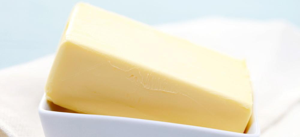 A block of margarine or butter.