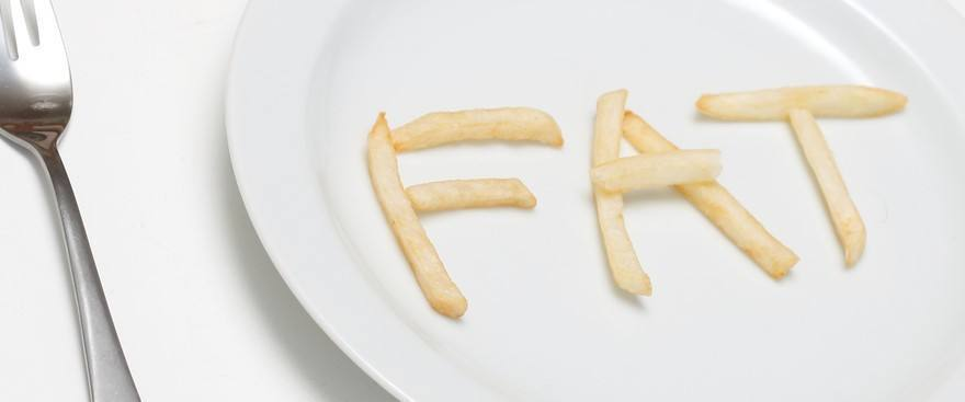 "The word ""Fat"" made up of french fries on a plate."