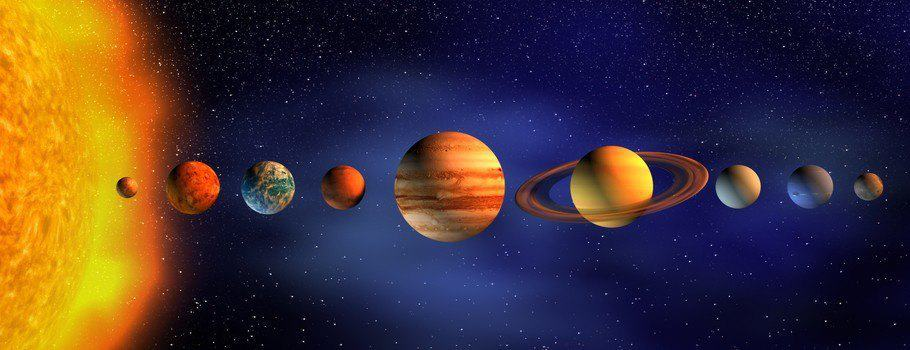 The planets of the solar system lined up next to each other.