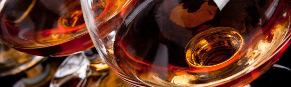 Close-up of a glass of brandy.