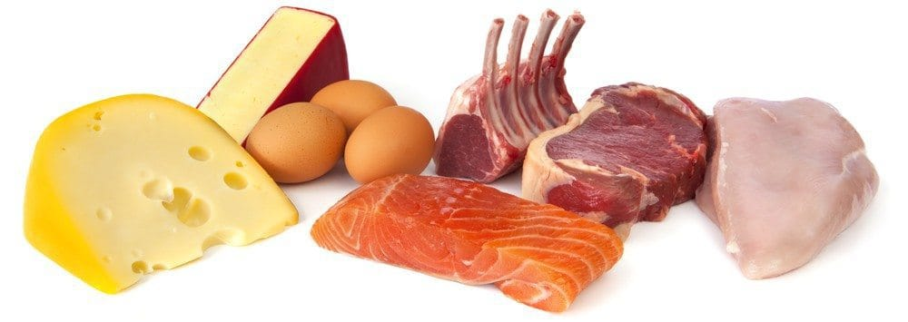 Various sources of protein including cheese, eggs, meat, and salmon.