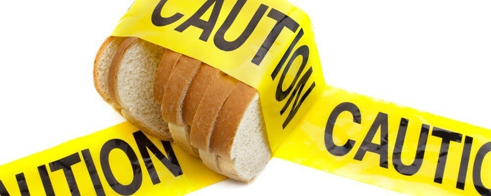 Bread covered in 'Caution' tape.