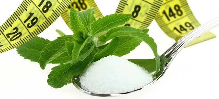 A spoonful of stevia powder with leaves tied around with measuring tape.