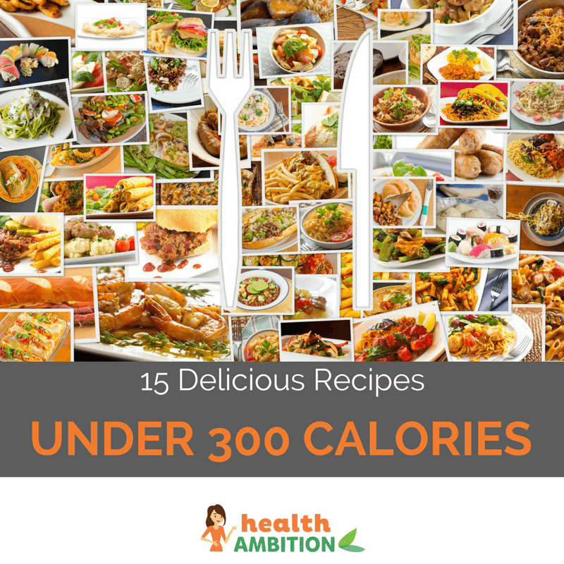 "Dozens of recipes with a fork and knife and the title ""15 Delicious Recipes Under 300 Calories."""
