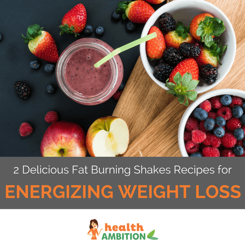 "A jar of shake next to several bowl of berries with the title ""2 Delicious Fat Burning Shakes Recipes for Energizing Weight Loss"""