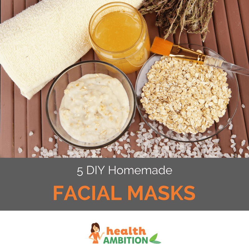 "Bowls of oatmeal, porridge, and a bottle of honey with the title ""5 DIY Homemade Facial Masks."""