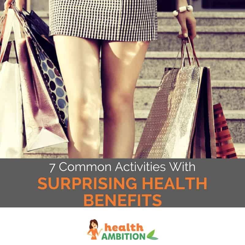 "Woman walking down stairs with shopping bags with the title ""7 Common Activities With Surprising Health Benefits."""
