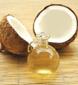 Coconut oil with coconut shells.