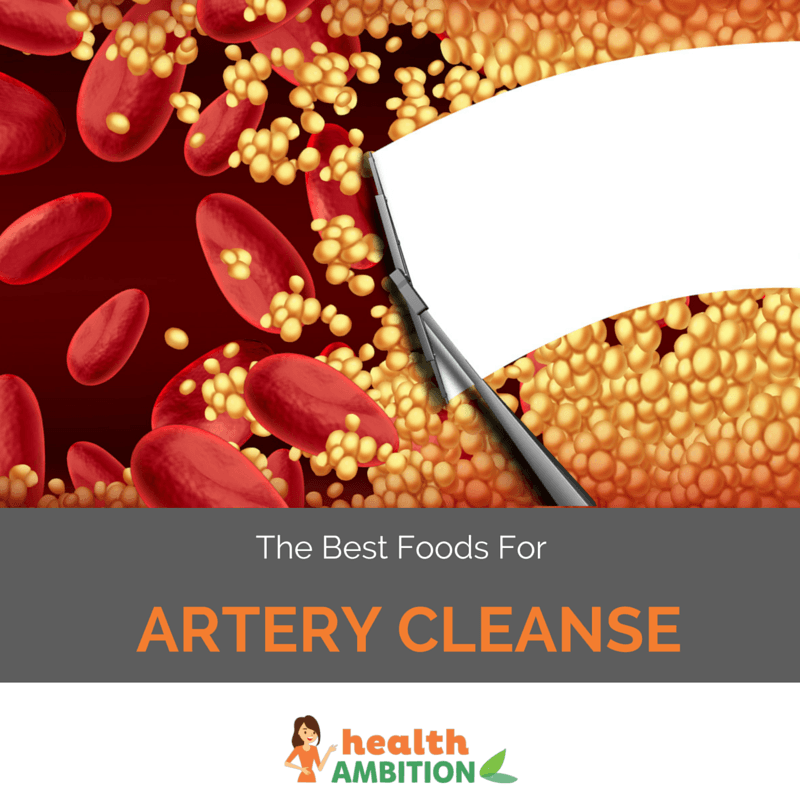 "Graphic of an artery being cleansed with the title ""The Best Foods for Artery Cleanse"""