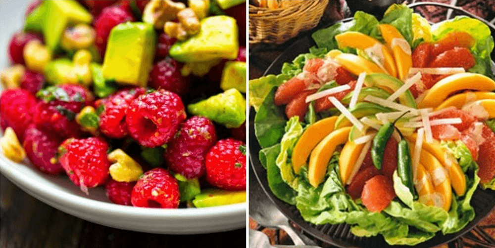 Two bowls of avocado-fruit salad.
