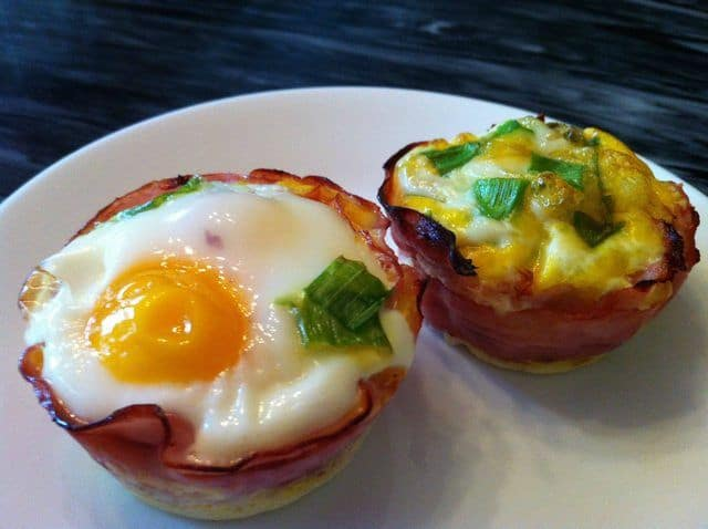 Two Baked Eggs in Ham Cups