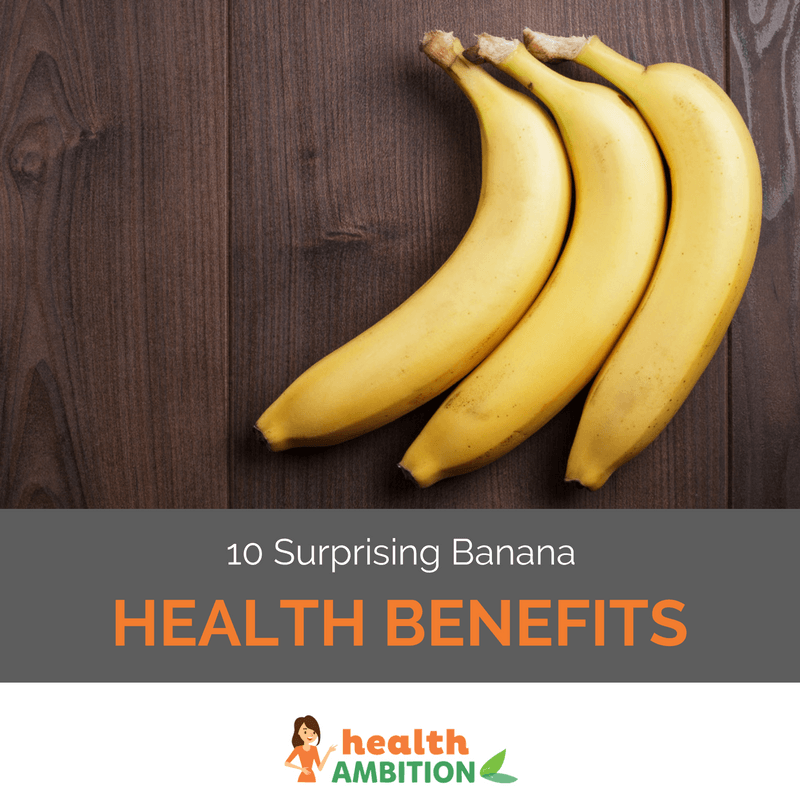 "Bananas with the title ""10 Surprising Banana Health Benefits."""
