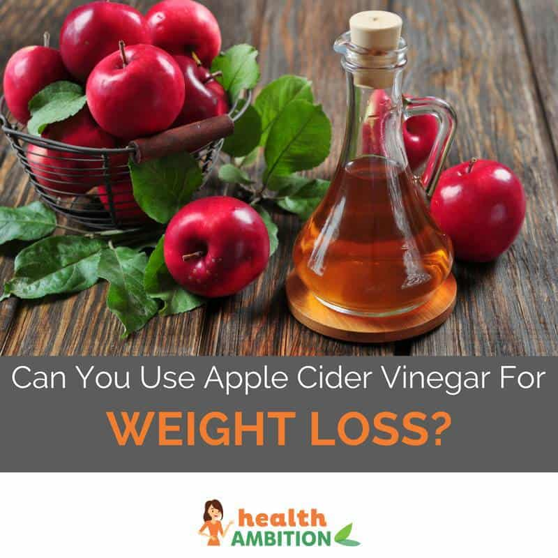 "Apples and apple cider vinegar with the title ""Can You Use Apple Cider Vinegar For Weight Loss?"""