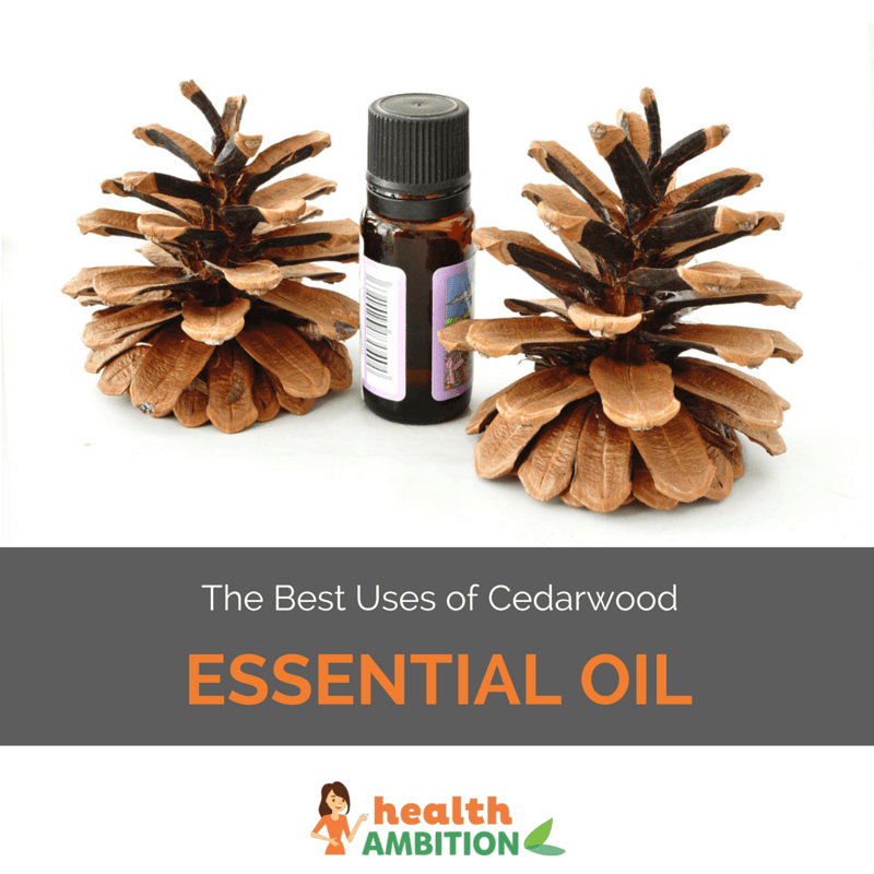 "Cedar wood essential oil with the title ""The Best Uses of Cedarwood Essential Oil"""