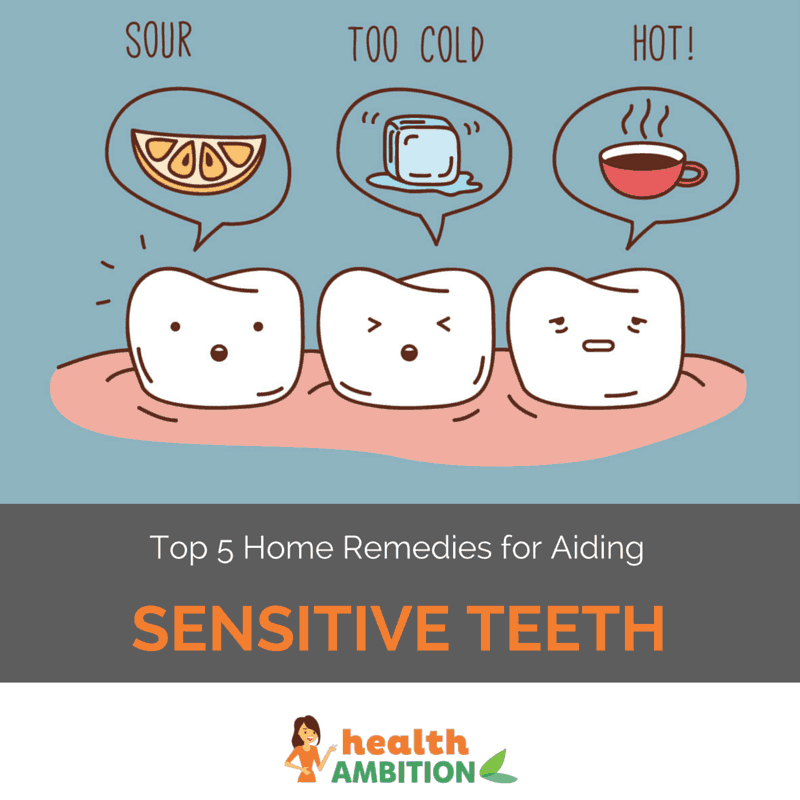 "GRaphic of teeth showing sensitivity to certain foods with the title ""Top 5 Home Remedies for Aiding Sensitive Teeth"""