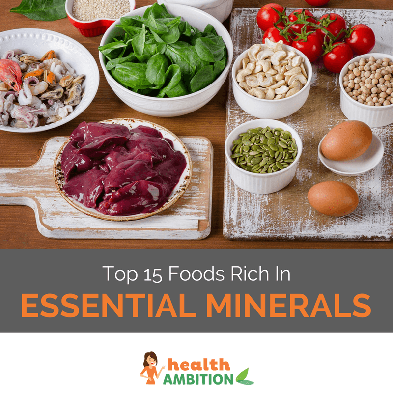 Various bowls of mineral-rich foods like tomatoes, liver, and seeds.