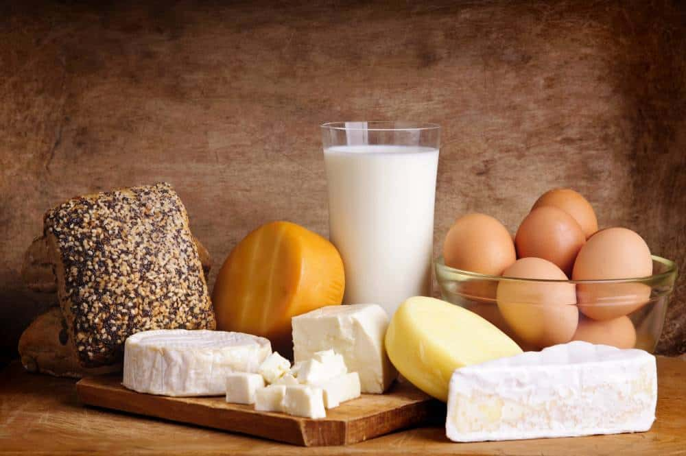 Various dairy products and sources of protein