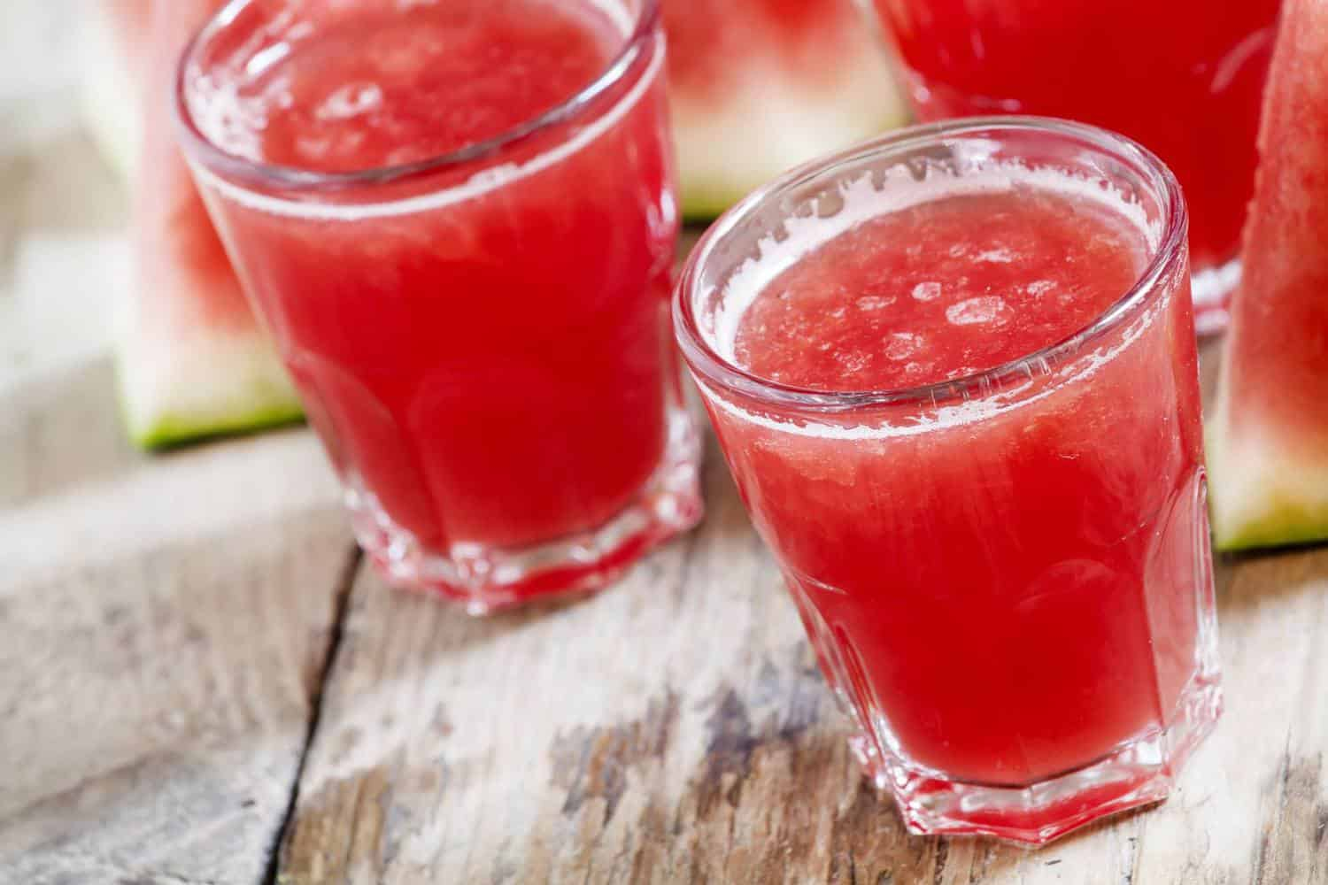 Glasses of watermelon-tomato juice.